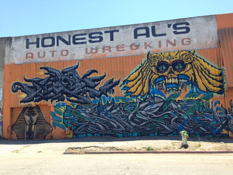 Across the street from Michael Herling's business in West Oakland is the 'cool art.'