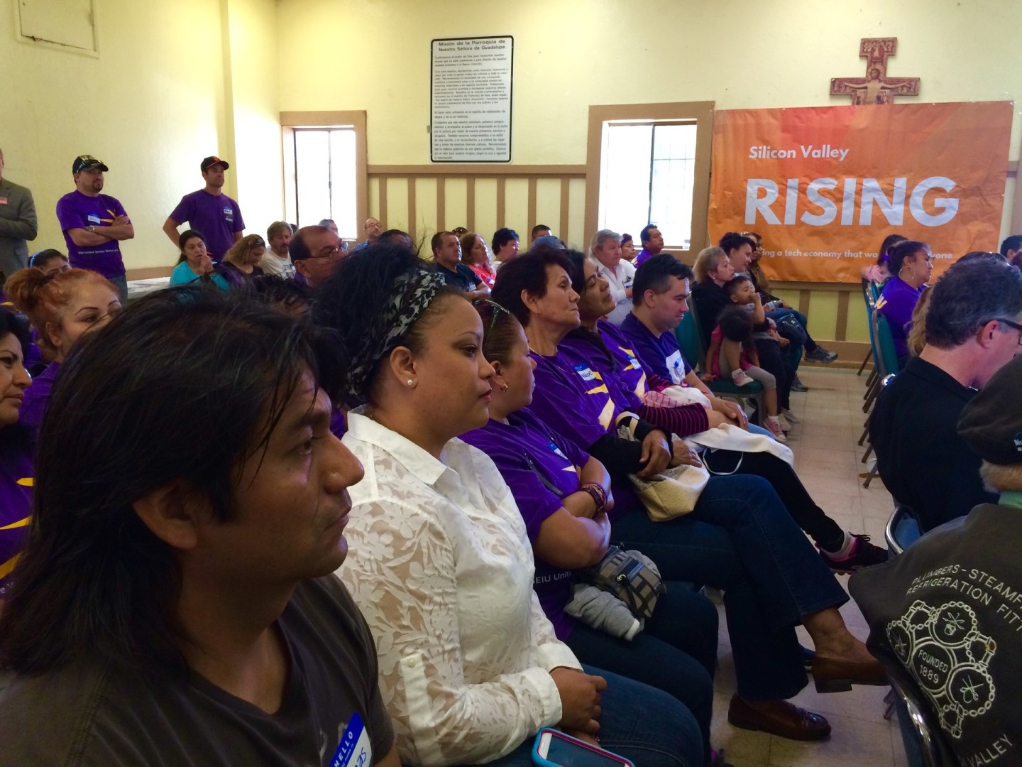 Low-wage service workers mobilize at Our Lady of Guadalupe Church in San Jose.
