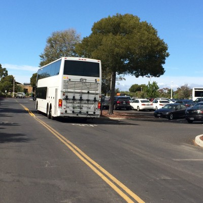 A Google shuttle bus at the company's Menlo Park campus.