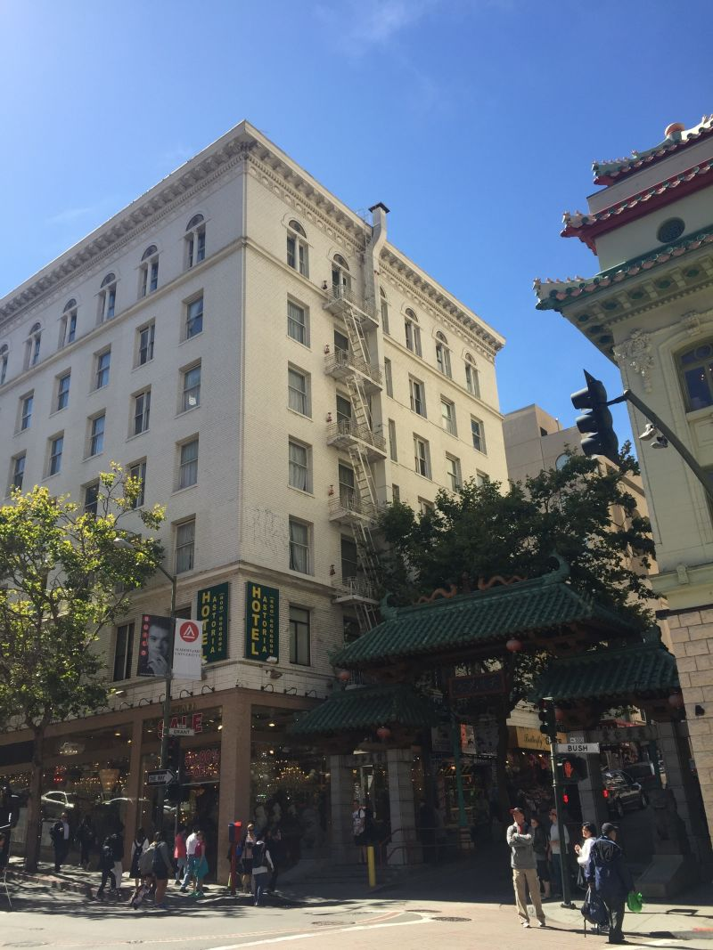 The Hotel Astoria, next to Chinatown's famous Dragon Gate entrance.