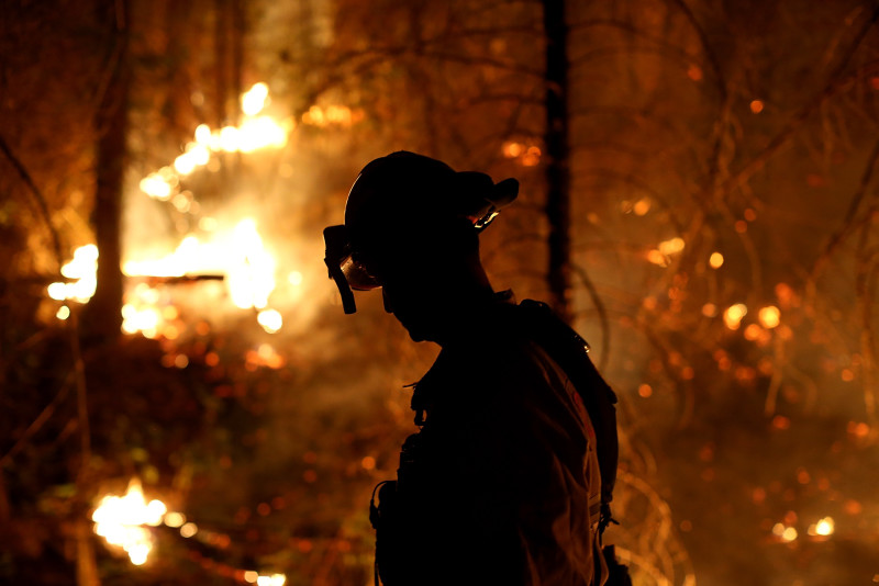 A firefighter monitors a back fire while battling the Rim Fire on August 22, 2013.