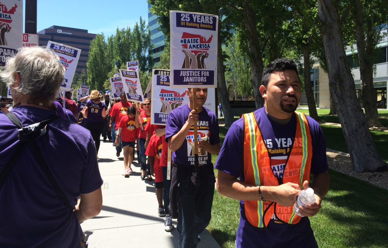 eBay janitor Jesus Solorio is a constant presence at demonstrations and rallies.