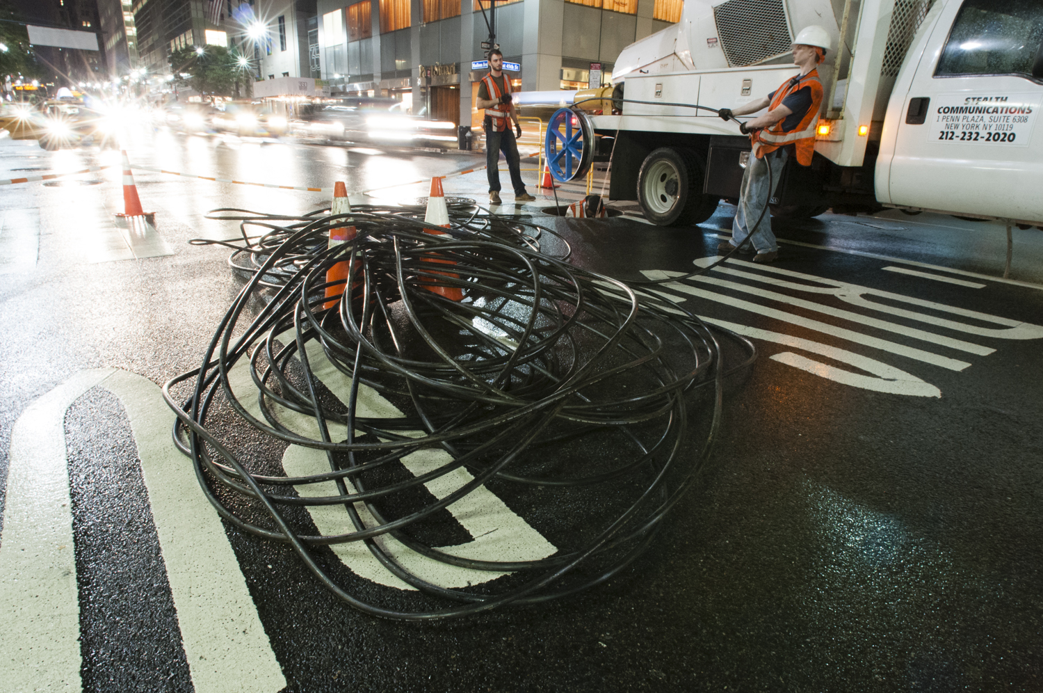 A Stealth fiber crew installs a 432-count fiber cable underneath the streets of Midtown Manhattan in 2013.