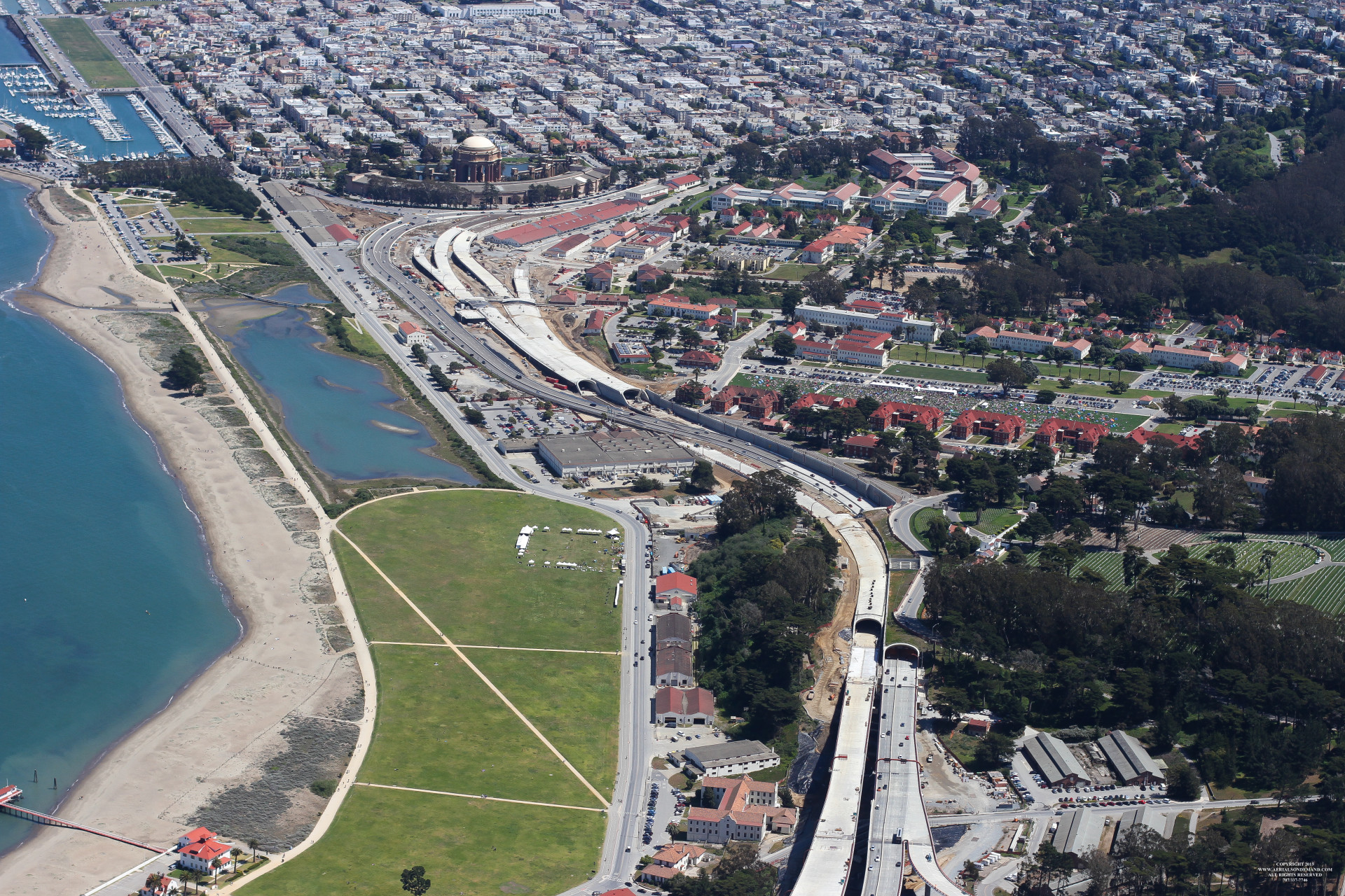 This photograph of the Presidio Parkway Project shows the Battery and Main Post tunnels.