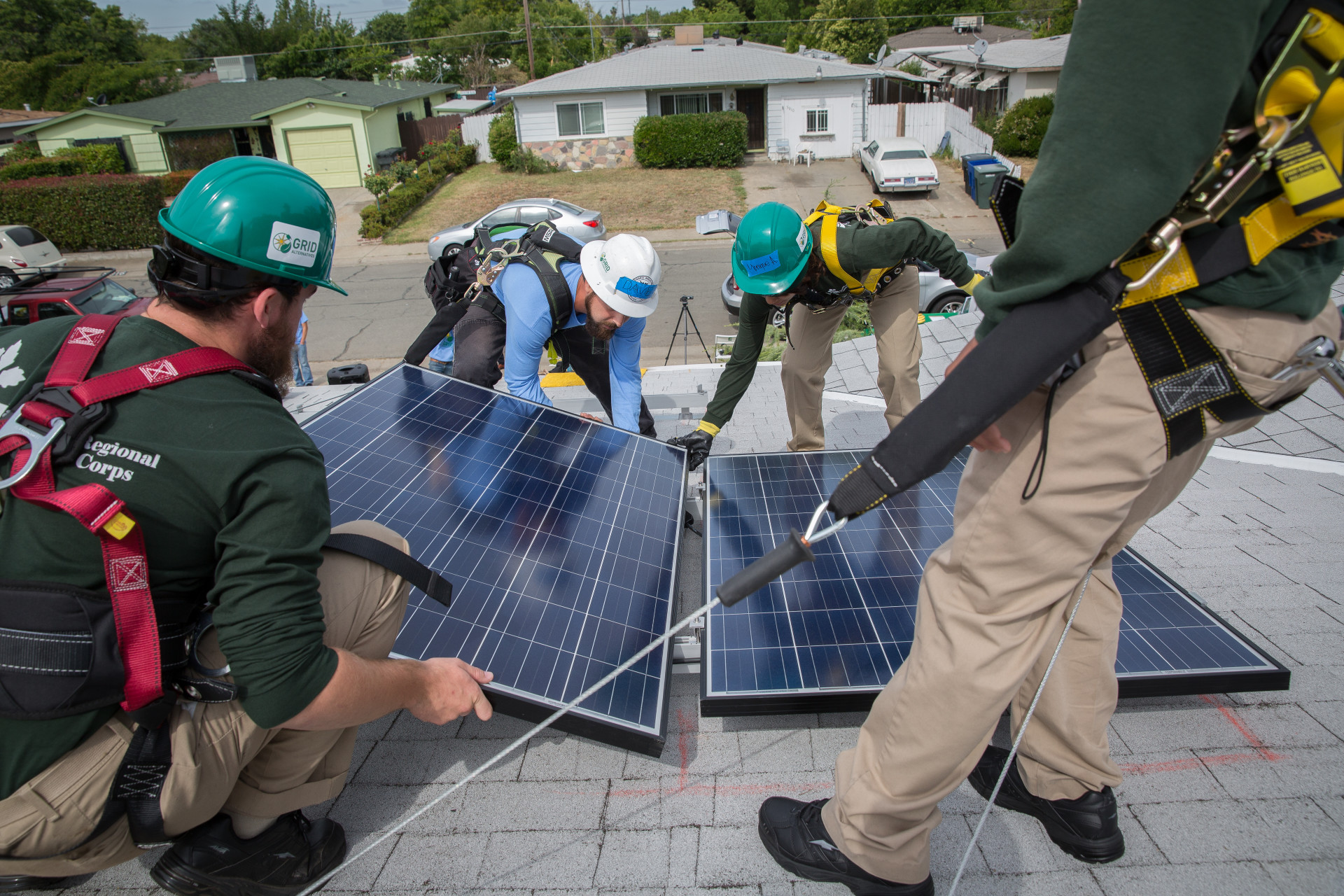 California Senate leader Kevin de León addresses the media Monday, May 18, 2015 during the installation of solar panels on the roor of a South Sacramento home.