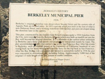 The historical plaque at the Berkeley pier.