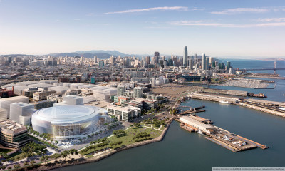 An architect's rendering of the Golden State Warriors' proposed new arena on San Francisco's Mission Bay waterfront.