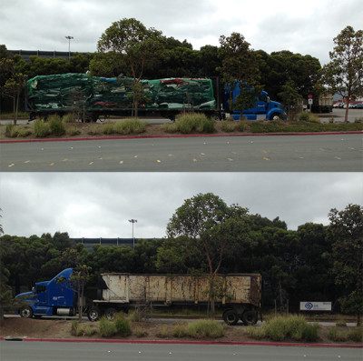Top: A truck brings discarded cars into Sims Metal Management facility in Redwood City for shredding. Bottom: Truck delivers auto shredder waste to landfill.