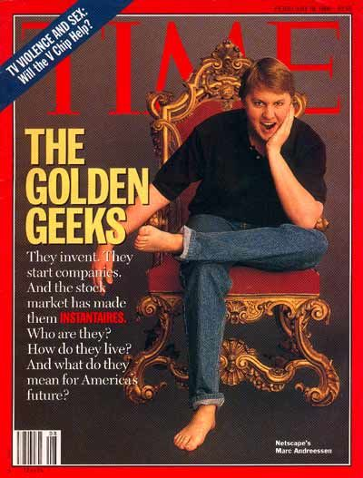 A Time magazine cover from February 1996 featured Netscape's Marc Andreessen.