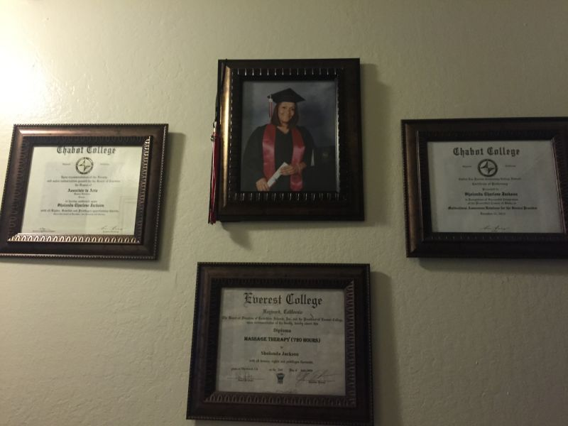 Sholonda Jackson's degrees are displayed in her Hayward home.