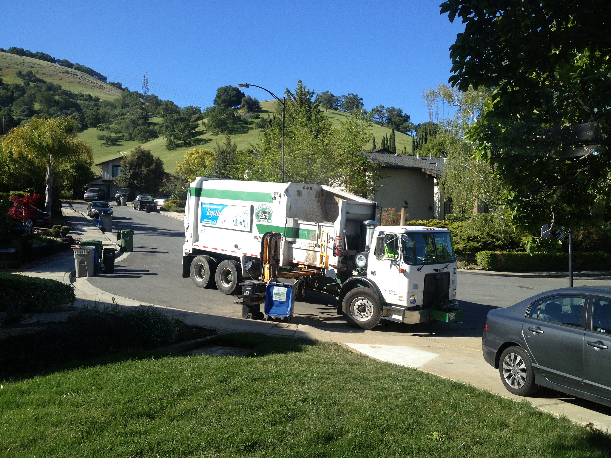 Garbage trucks in San Jose sweep the entire city every week.