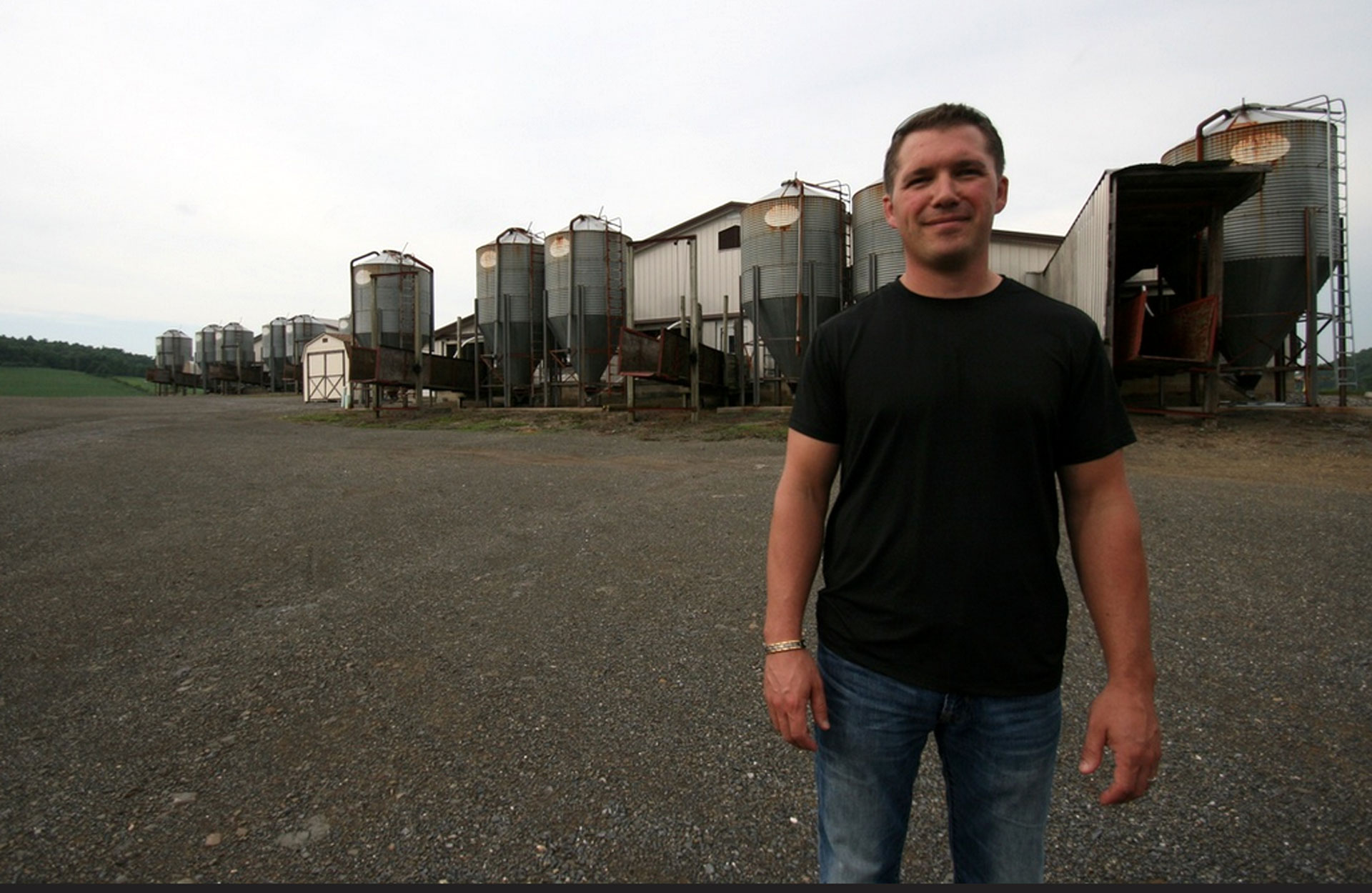 Dennis Brubaker, co-owner of Ideal Family Farms, at his pig farm in Beavertown, Pennsylvania.