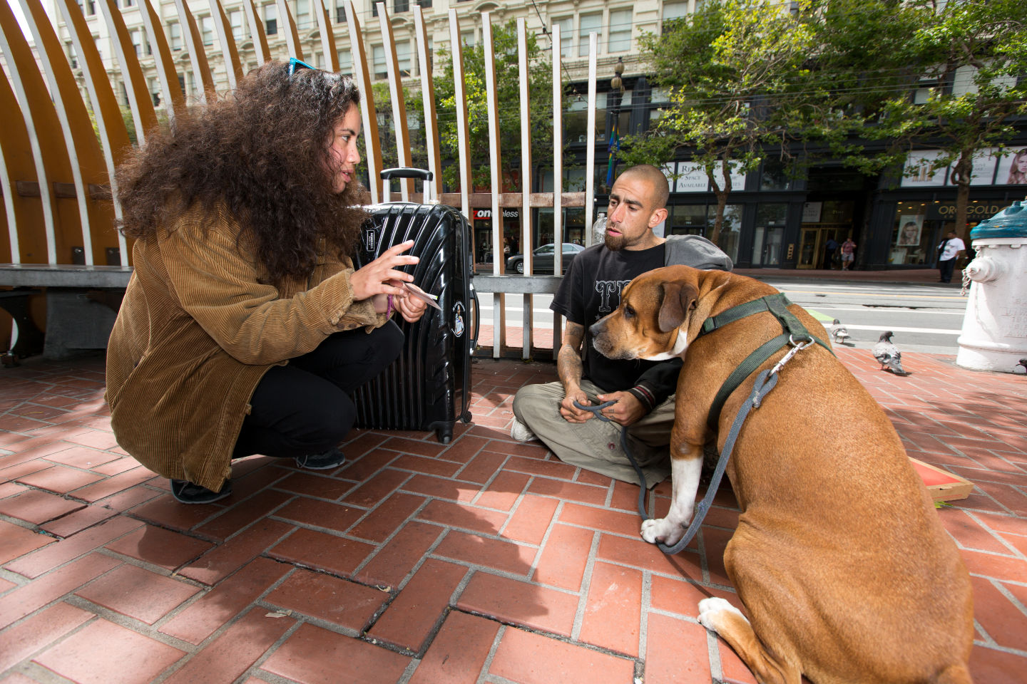 Marissa Balonon-Rosen of Project Homeless Connect and HandUp has been doing outreach and testing gift cards around Market Street in downtown San Francisco.