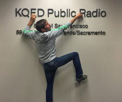 Rock climber Kevin Jorgeson at the KQED studios in San Francisco.