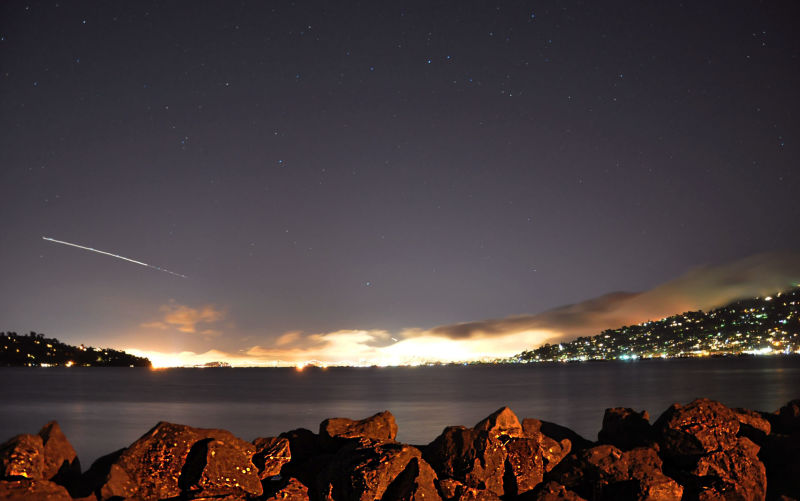 A meteor cast over the San Francisco Bay Area sky from Harbor Point, Mill Valley.