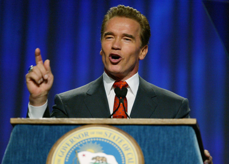 Gov. Arnold Schwarzenegger led the campaign to persuade voters to sell up to $15 billion in deficit bonds.
