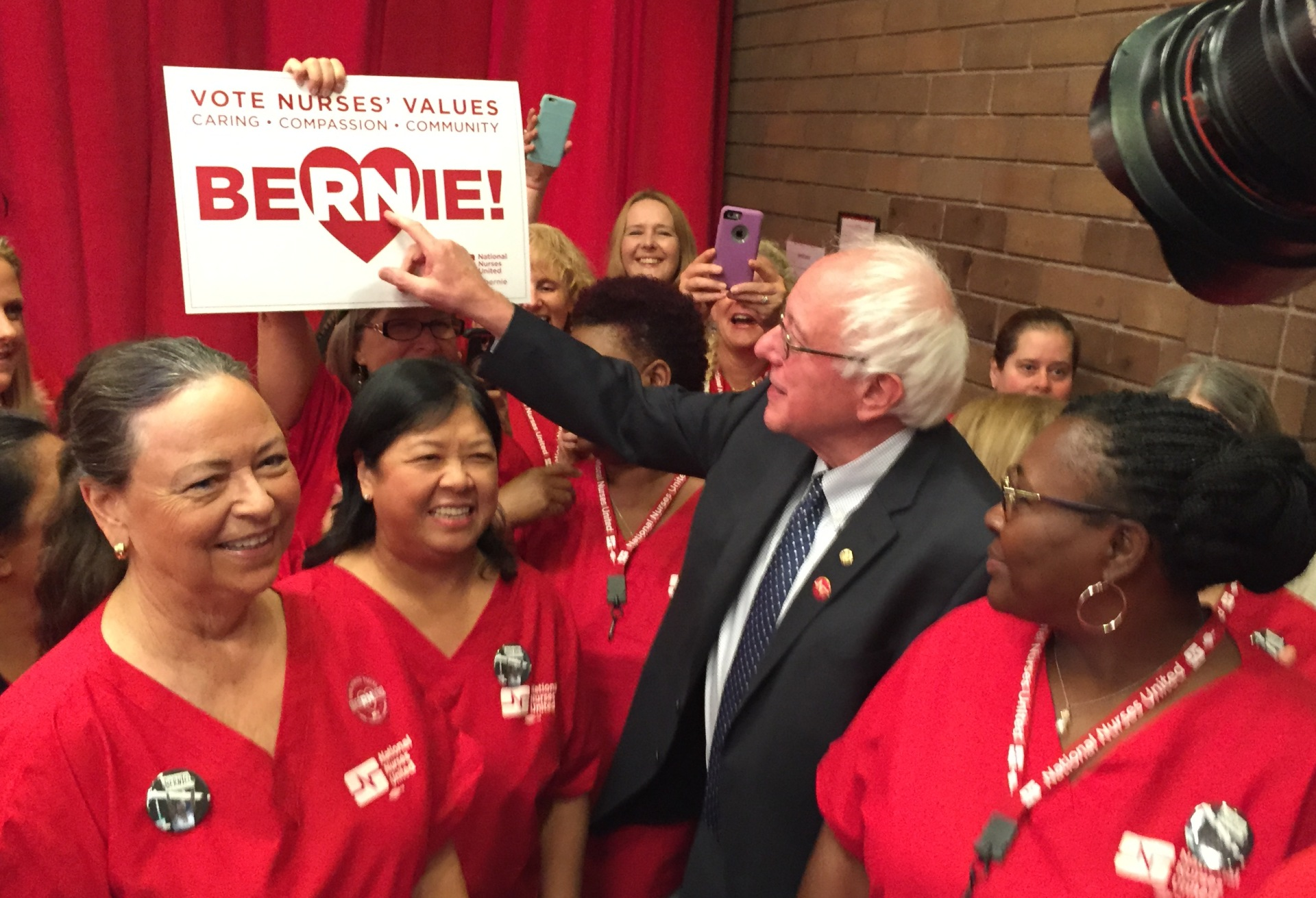 Presidential hopeful and Vermont Sen. Bernie Sanders arrives to accept the endorsement of the National Nurses United union in Oakland on Aug. 10.