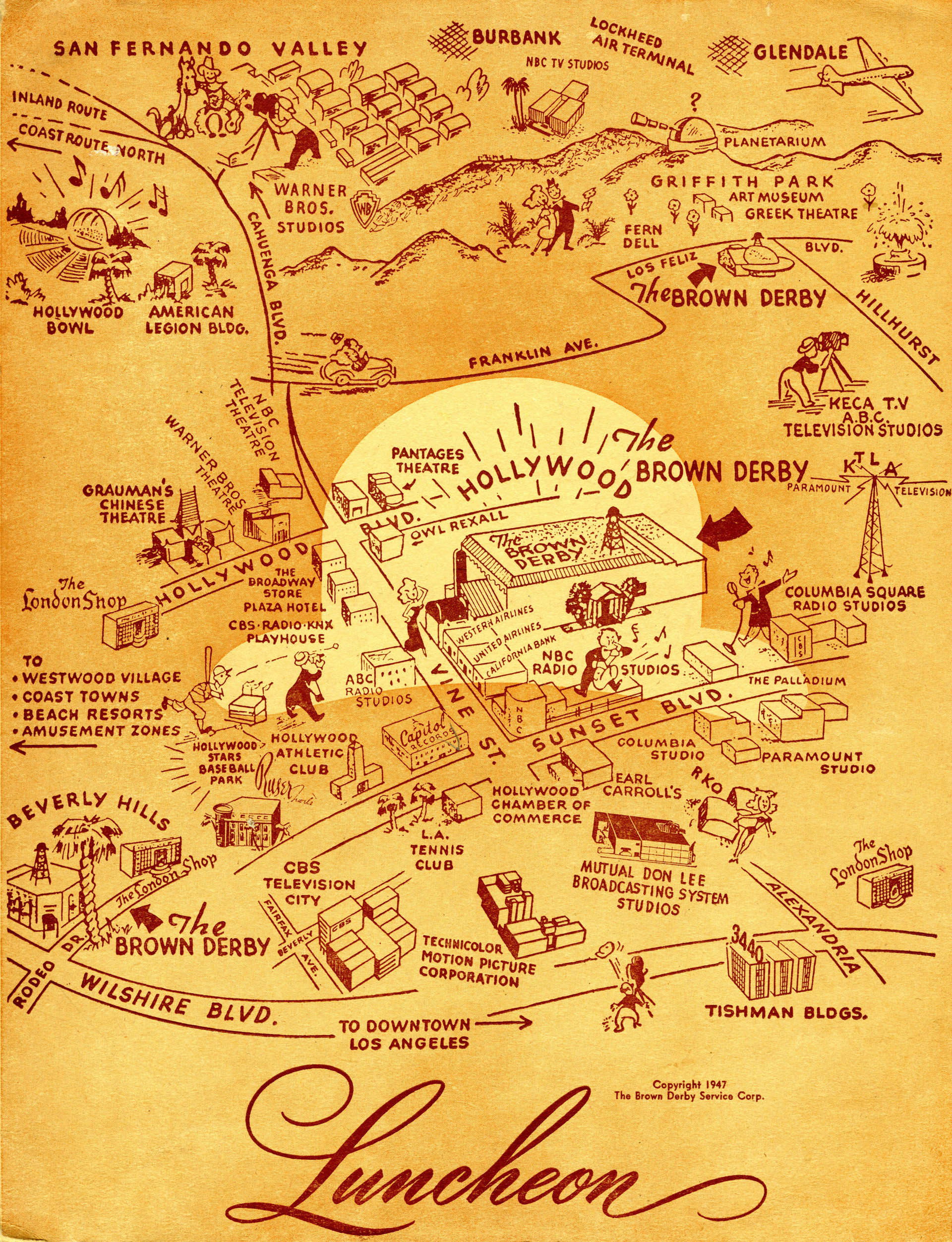 Menu cover from the Brown Derby restaurant.