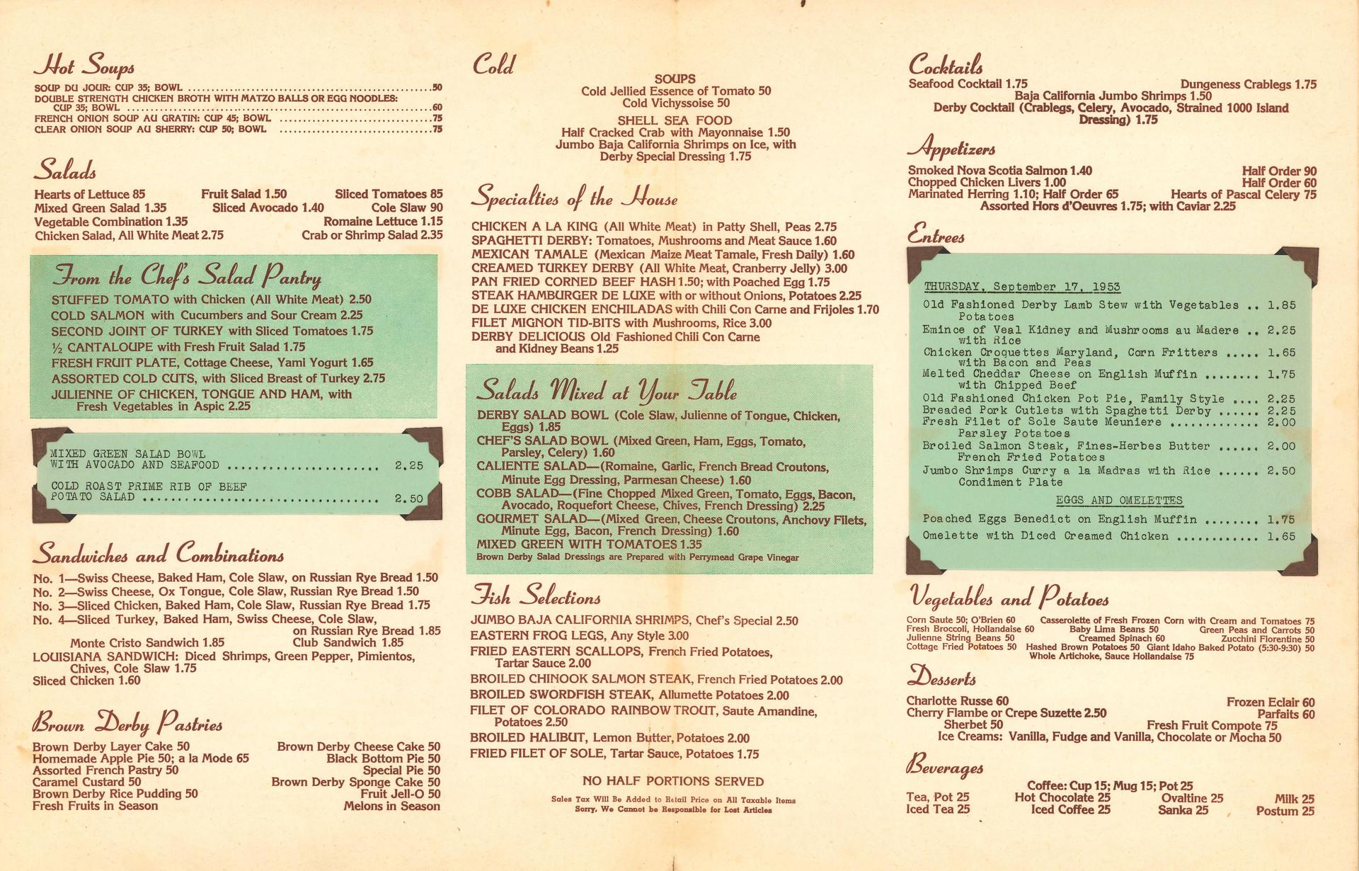 A Brown Derby menu from September 1953.