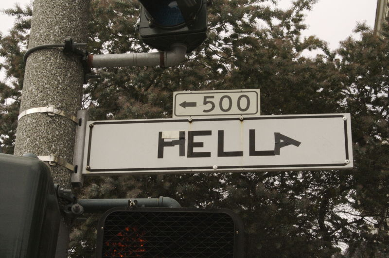 Someone turned Fell Street in San Francisco into Hella Street. (kyle rw/Flickr)