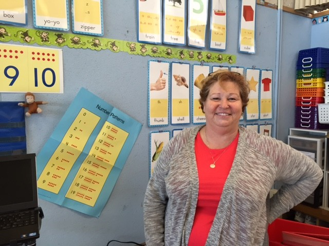 Kindergarten teacher Renee Smith preps her classroom for a new group of students at Glenmoor Elementary in the Fremont Unified School District.