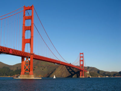 A 30-foot-high Tsunami would barely reach the top of the pylon on the Golden Gate Bridge.