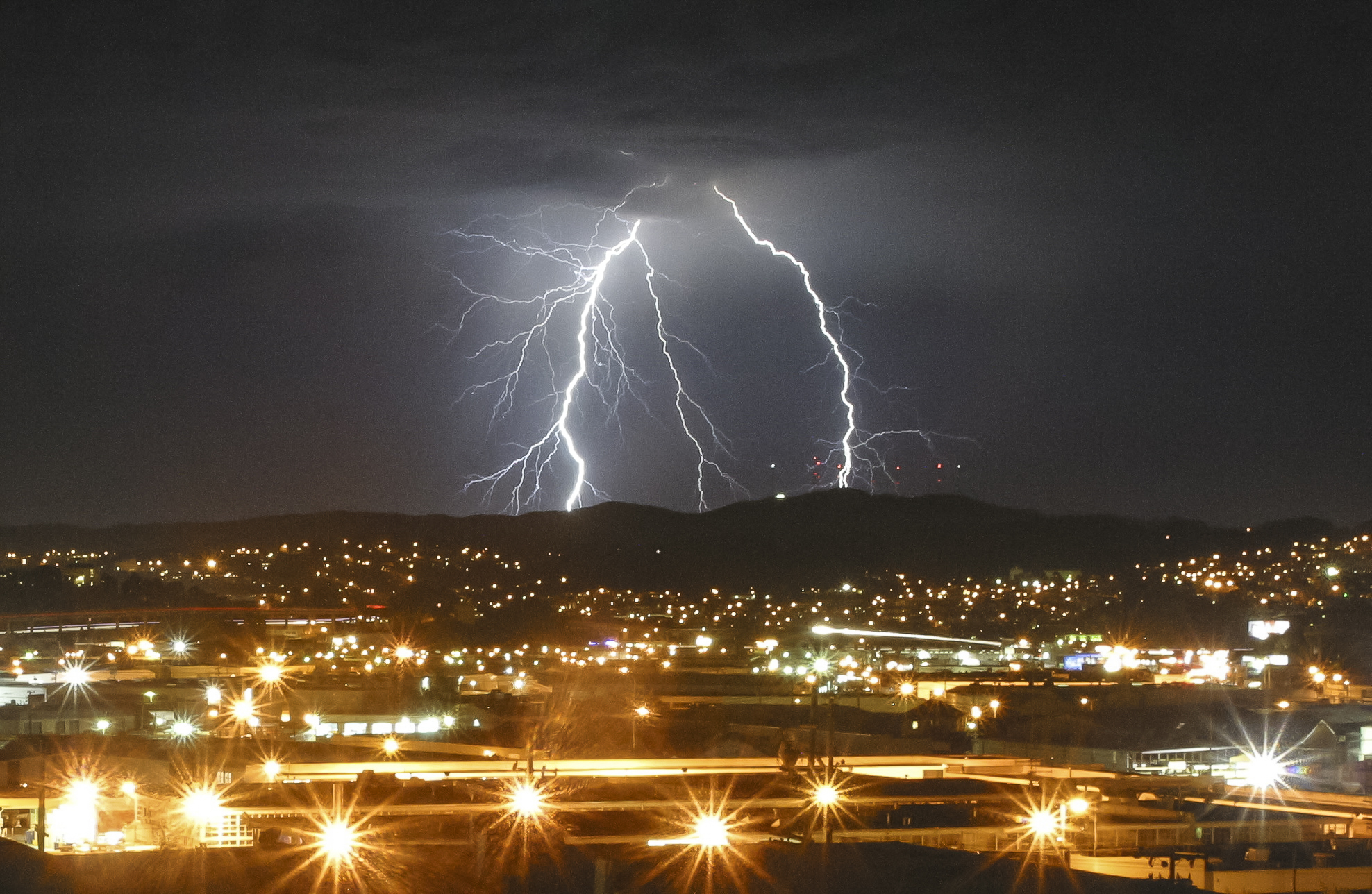 Rare lightning strikes the Bay Area in August, 2013, as seen from Potrero Hill in San Francisco.