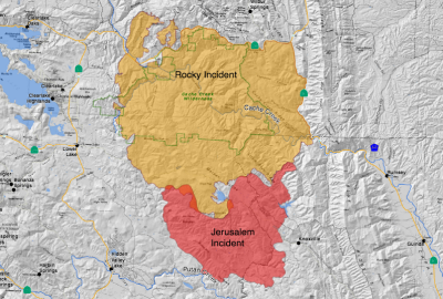 Cal Fire's map of the Jerusalem and Rocky fires. Perimeters shown as of early Thursday, Aug. 13. Click for larger image.