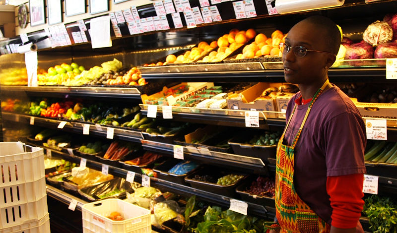 Mandela Food Co-op owner/worker, Adrionna Fike. (Adam Grossberg/KQED)