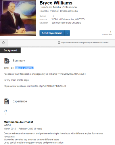 A screen capture of a LinkedIn profile maintained by Bryce Williams, also known as Vester Lee Flanagan.