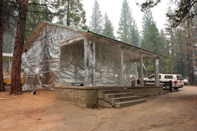 A building at the Hume Lake camp, wrapped to resist ignition as the Rough Fire advanced through the adjacent forest.