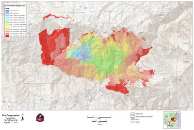 Map showing progression of the Rough Fire, burning in the Sierra east of Fresno, since it began as a small lightning-sparked fire in early August. Click for larger image.