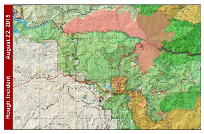 National Forest Service map of the Rough Fire perimeter, Aug. 22, 2015. Click for larger image.