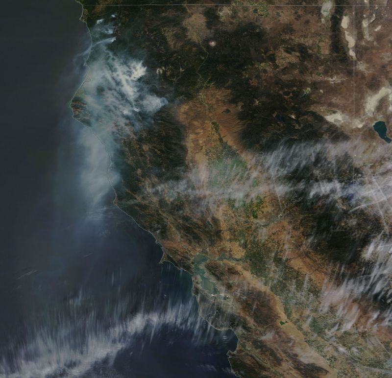Smoke from Northern California wildfires drifted south over the weekend over the Bay Area -- and offshore over the Pacific.