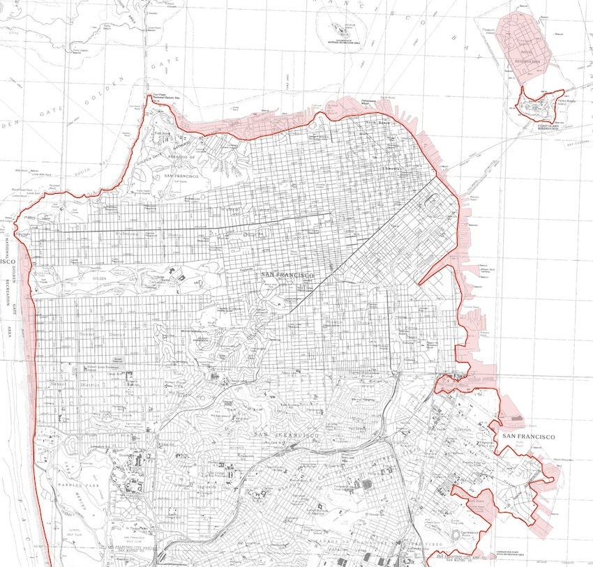 Red regions of San Francisco may be vulnerable to inundation by a tsunami.