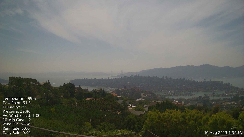 """A Sunday afternoon image from a web cam in Tiburon showing smoke that's drifted south over the Bay Area from fires burning in Northern California.  <a href=""""http://www.rntl.net/mttamcam.htm"""">Mount Tam Cam</a>"""
