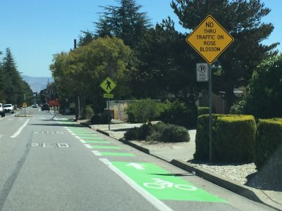 Cupertino has added green paint to a number of its bike lanes.