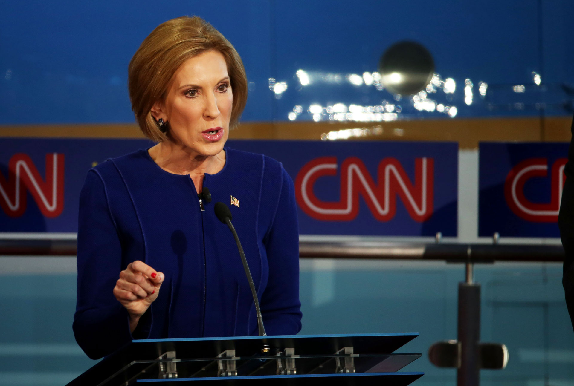 Carly Fiorina takes part in the GOP presidential debate at the Reagan Library on September 16, 2015 in Simi Valley.