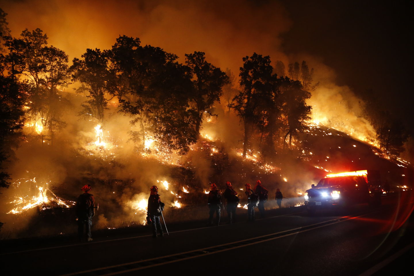 Firefighters with the Marin County Fire Department's Tamalpais Fire Crew monitor a backfire as they battle the Valley Fire.   Stephen Lam/Getty Images