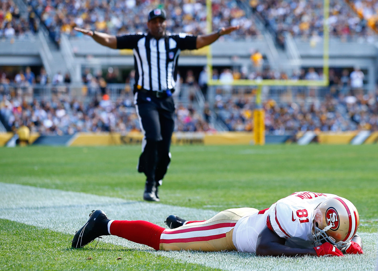 Anquan Boldin #81 of the San Francisco 49ers reacts following an incomplete pass in the third quarter against the Pittsburgh Steelers. (Jared Wickerham/Getty Images)