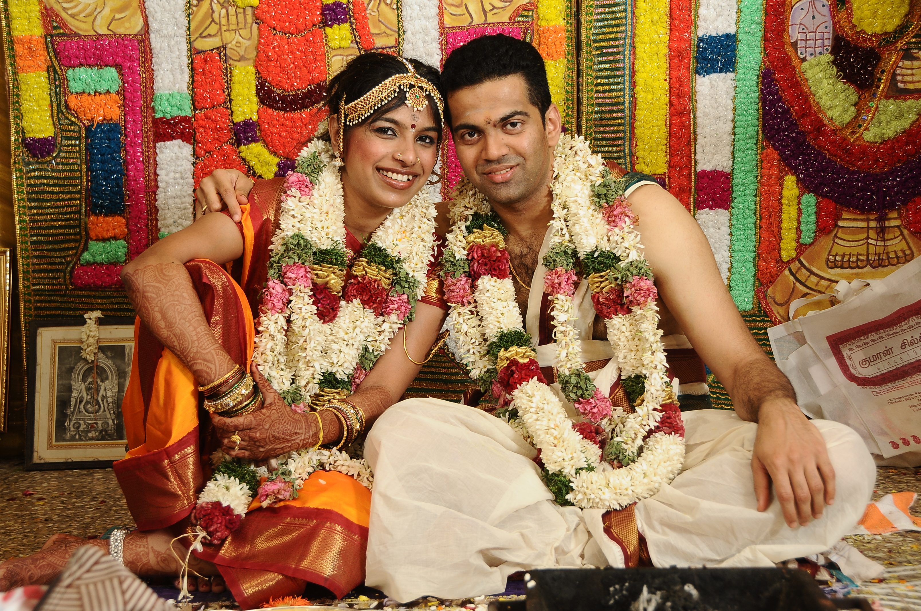 Gomathi Ramakrishnan and Prashanth Vishnumangalam Narayanan at their wedding in Chennai, Tamil Nadu, India.