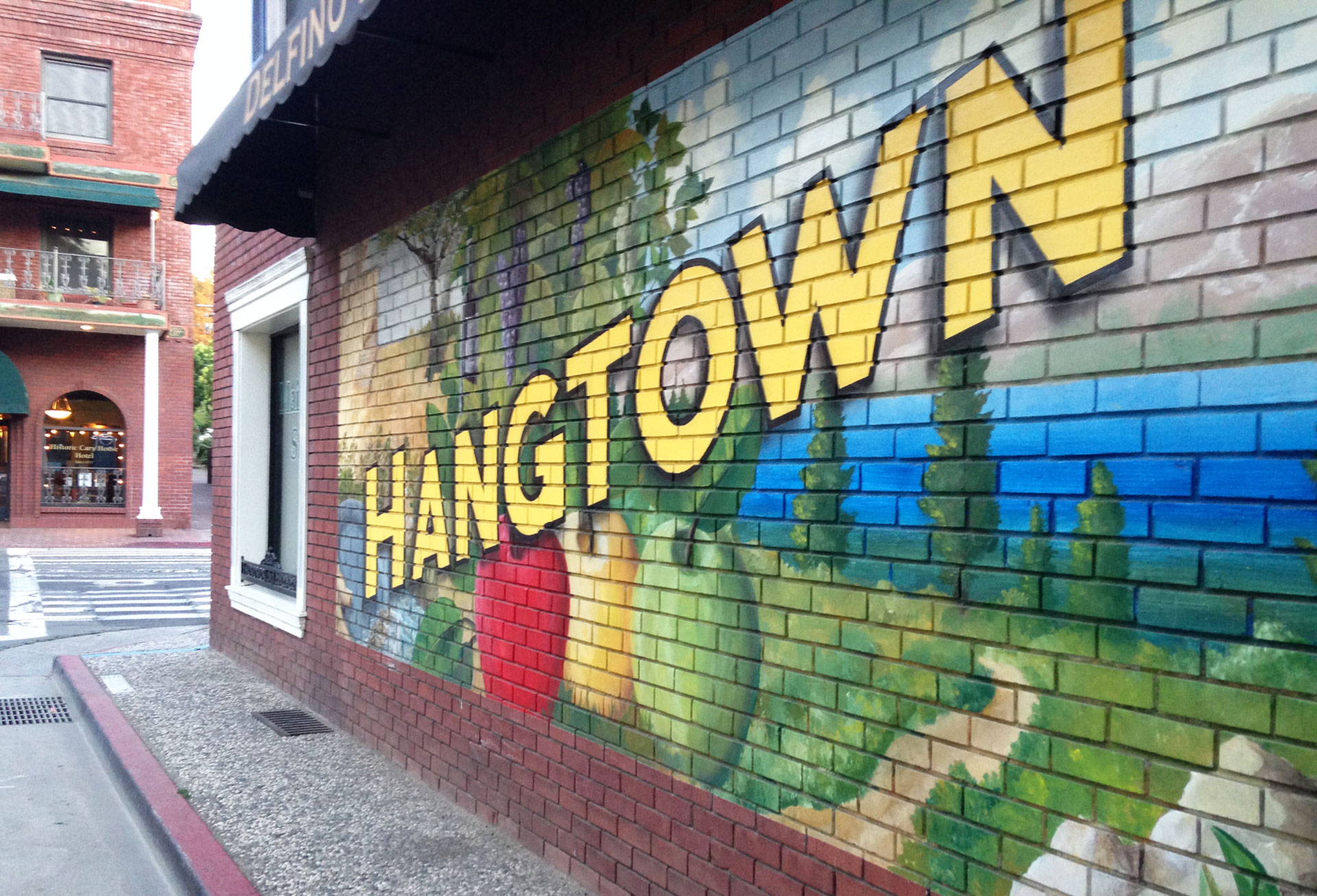 A painted wall in downtown Placerville, which was known as Old Hangtown.