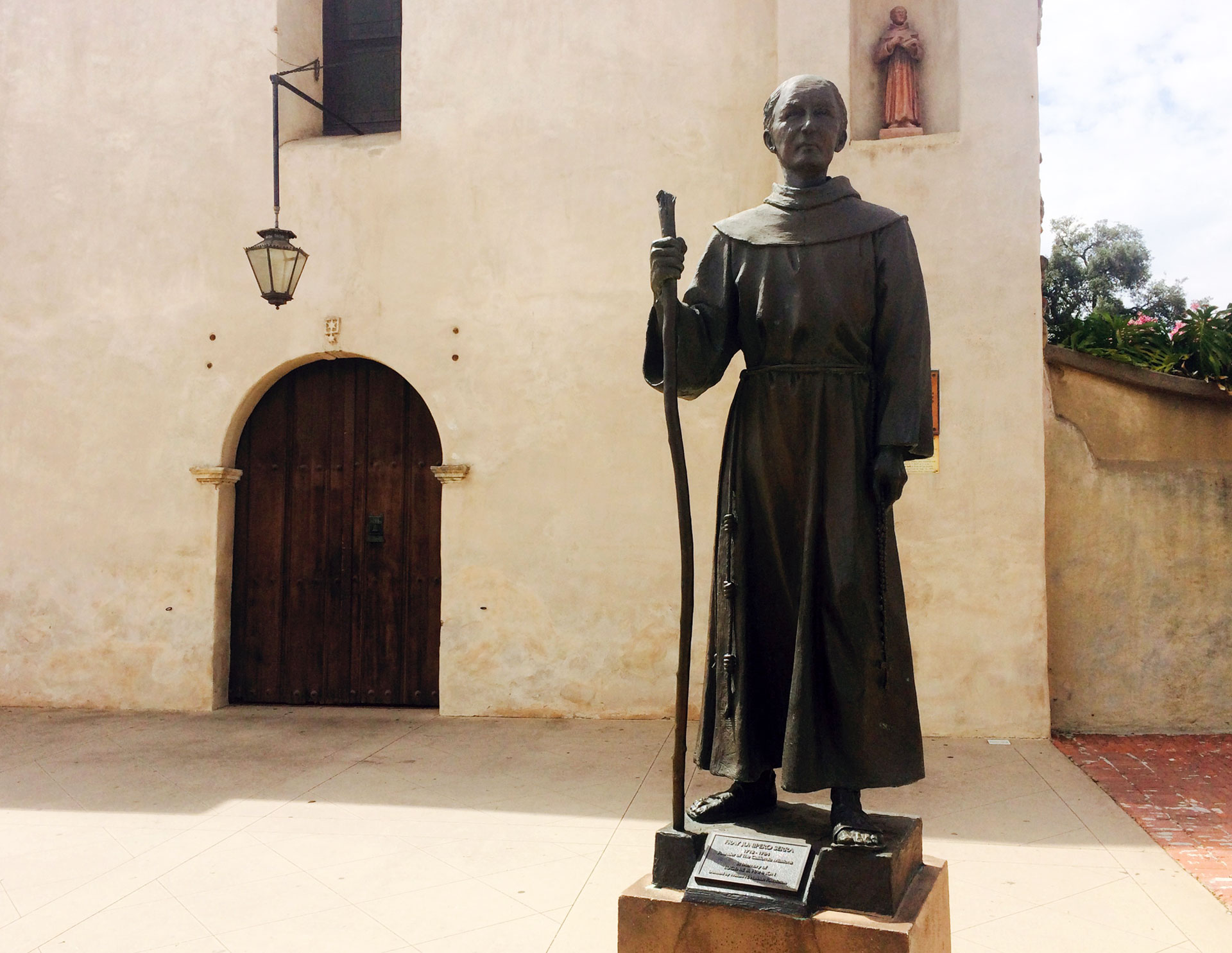 A statue of Father Junipero Serra outside the San Gabriel Mission.