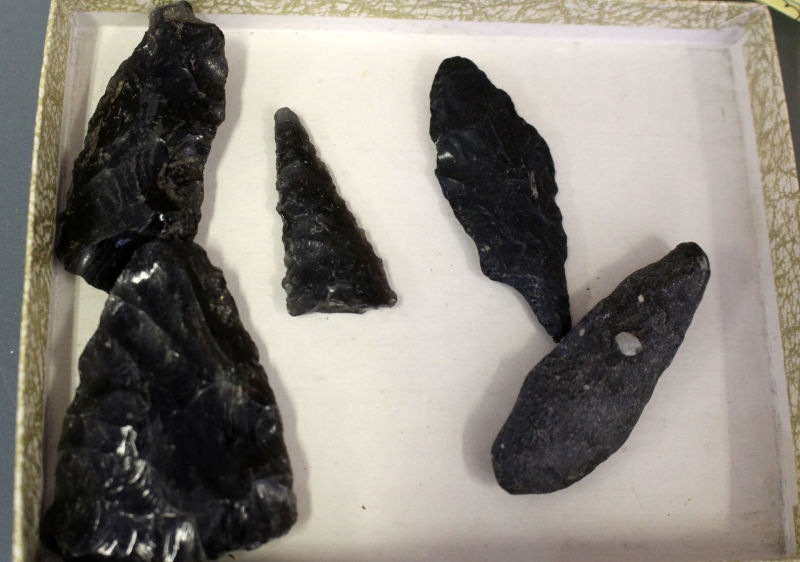 Obsidian spear and arrowheads such as these at the Big Valley Rancheria of Pomo Indians in Lake County may fetch hundreds of dollars in the black market. Local Pomo people want to recover these items and stop these crimes.