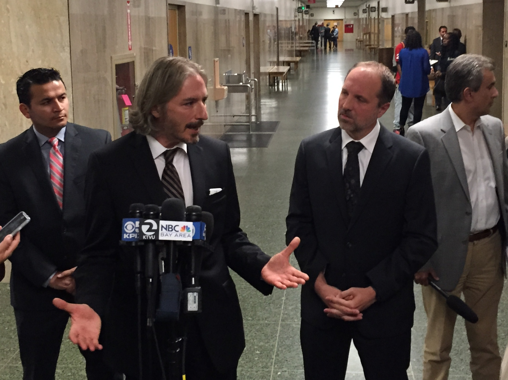 Juan Francisco Lopez-Sanchez's attorneys Matt Gonzalez and Francisco Ugarte speak to reporters after the conclusion of a preliminary hearing at which a judge ruled there is sufficient evidence to hold their client to answer second-degree murder charges for the killing of Kathryn Steinle.