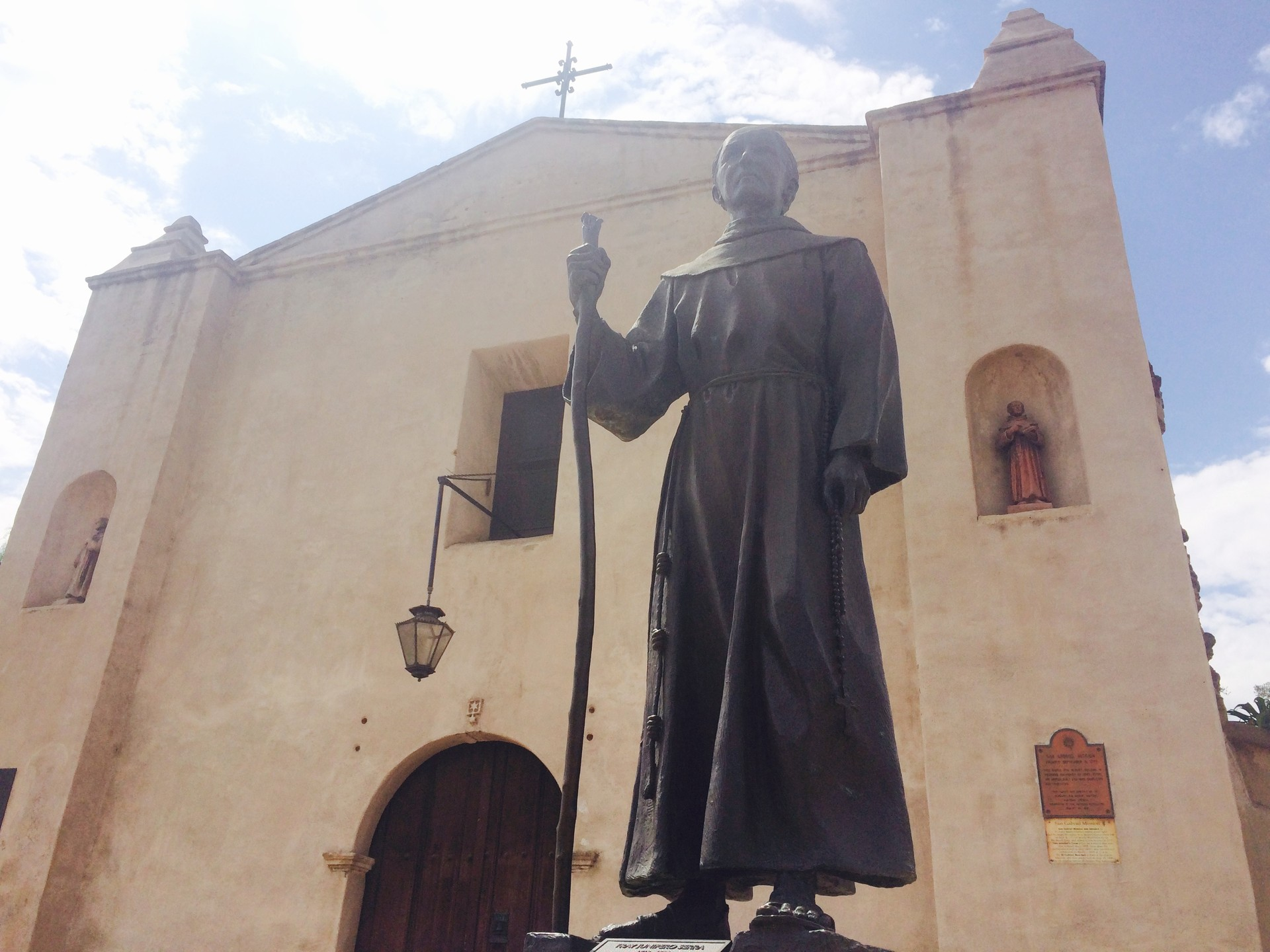A statue of Father Junípero Serra outside the San Gabriel Mission.