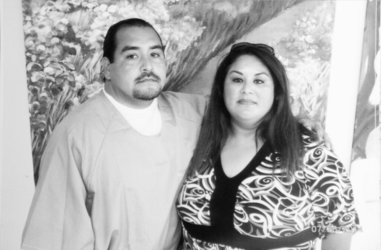 A photo of Robert Perez, 36, and his mother the first time she went to visit him at Calipatria State Prison. (Jeremy Raff/KQED)