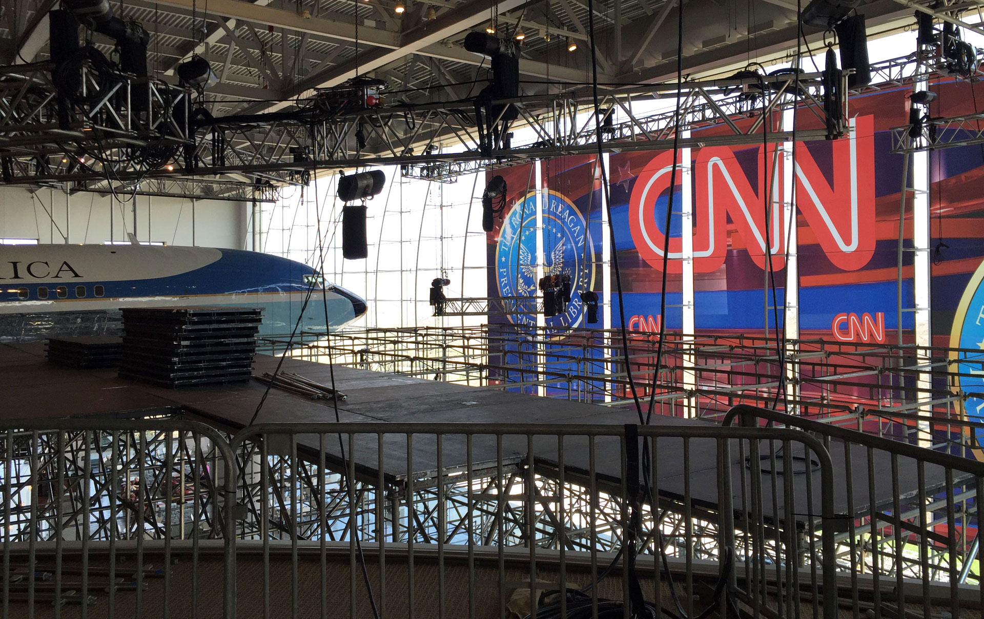 Scaffolding goes up at the Reagan Library in Simi Valley, the site of the next GOP debate.