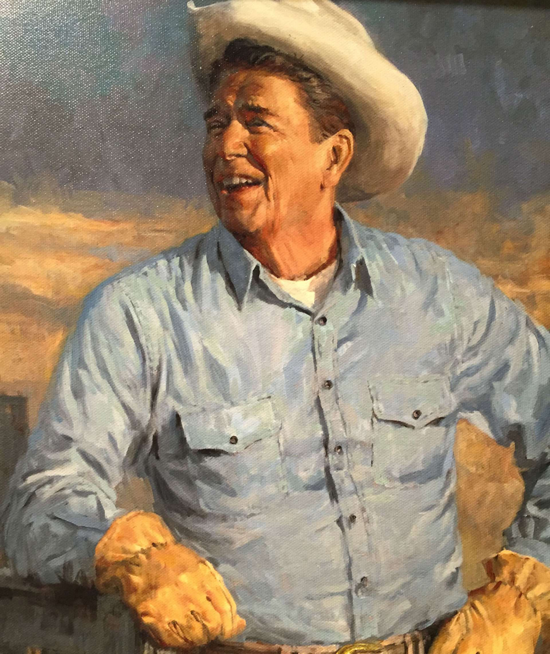 Ronald Reagan cultivated his image as a Western cowboy, a John Wayne-type common-sense, no-nonsense guy, as seen in this poster in the Reagan Library.