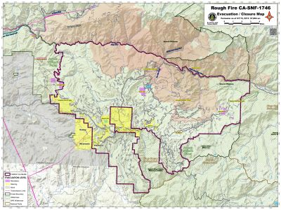 Map showing evacuation orders and warnings in effect near the perimeter of the Rough Fire in Fresno County. (Click for full size image.)